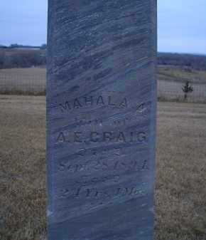 CRAIG, MAHALA A. - Madison County, Nebraska | MAHALA A. CRAIG - Nebraska Gravestone Photos