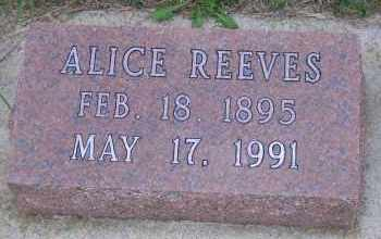 REEVES, ALICE - Madison County, Nebraska | ALICE REEVES - Nebraska Gravestone Photos