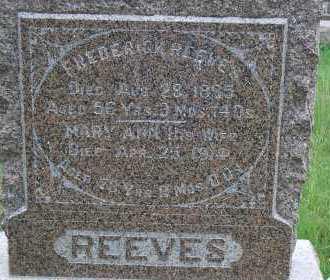 REEVES, MARY ANN - Madison County, Nebraska | MARY ANN REEVES - Nebraska Gravestone Photos