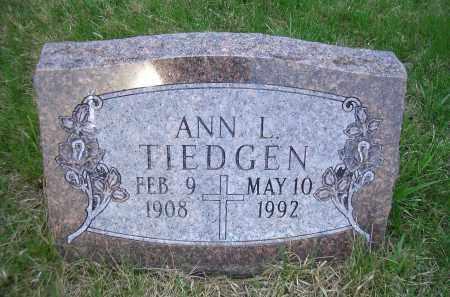 TIEDGEN, ANN L. - Madison County, Nebraska | ANN L. TIEDGEN - Nebraska Gravestone Photos