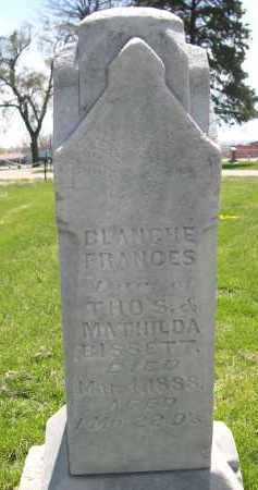 BISSETT, BLANCHE FRANCES - Red Willow County, Nebraska | BLANCHE FRANCES BISSETT - Nebraska Gravestone Photos