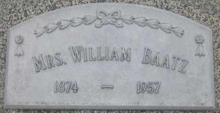 BAATZ, MRS. WILLIAM - Saline County, Nebraska   MRS. WILLIAM BAATZ - Nebraska Gravestone Photos