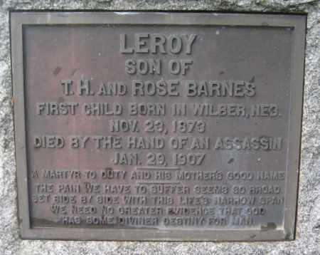BARNES, LEROY - Saline County, Nebraska | LEROY BARNES - Nebraska Gravestone Photos