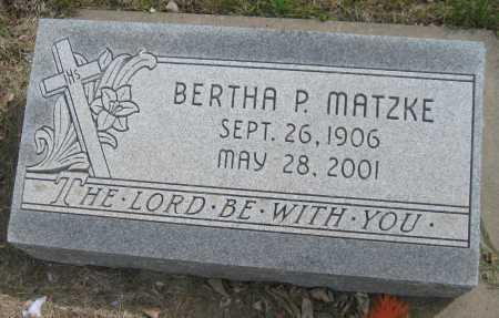 MATZKE, BERTHA P. - Saline County, Nebraska | BERTHA P. MATZKE - Nebraska Gravestone Photos