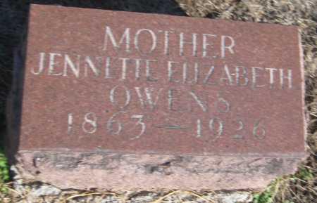 OWENS, JENNETTE ELIZABETH - Saline County, Nebraska | JENNETTE ELIZABETH OWENS - Nebraska Gravestone Photos