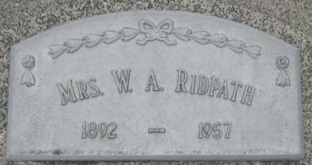 RIDPATH, MRS. W. A. - Saline County, Nebraska | MRS. W. A. RIDPATH - Nebraska Gravestone Photos