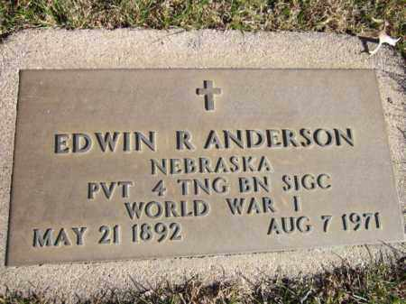 ANDERSON, EDWIN R. (MILITARY MARKER) - Saunders County, Nebraska | EDWIN R. (MILITARY MARKER) ANDERSON - Nebraska Gravestone Photos