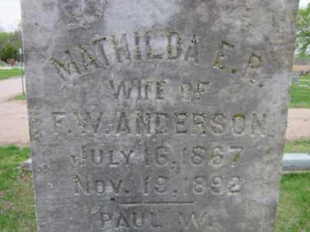 ANDERSON, MATHILDA E. R. (CLOSE UP) - Saunders County, Nebraska | MATHILDA E. R. (CLOSE UP) ANDERSON - Nebraska Gravestone Photos