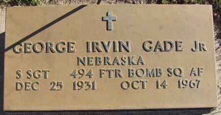 GADE, GEORGE IRVIN JR. (MILITARY) - Saunders County, Nebraska | GEORGE IRVIN JR. (MILITARY) GADE - Nebraska Gravestone Photos