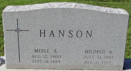 HANSON, MILDRED A. - Saunders County, Nebraska | MILDRED A. HANSON - Nebraska Gravestone Photos