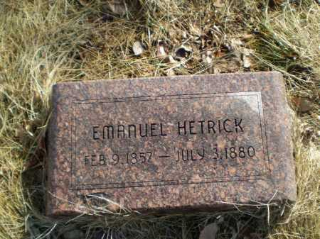 HETRICK, EMANUEL - Saunders County, Nebraska | EMANUEL HETRICK - Nebraska Gravestone Photos