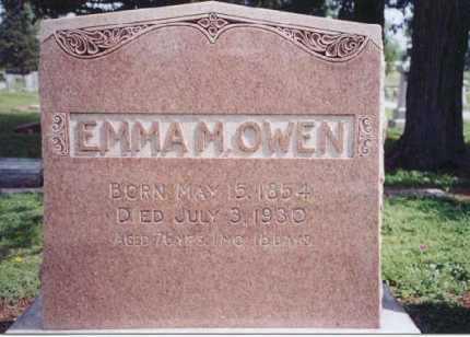 OWEN, EMMA MARIE - Saunders County, Nebraska   EMMA MARIE OWEN - Nebraska Gravestone Photos