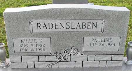 RADENSLABEN, BILLIE K. - Saunders County, Nebraska | BILLIE K. RADENSLABEN - Nebraska Gravestone Photos