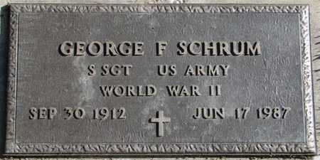 SCHRUM, GEORGE F. (MILITARY MARKER) - Saunders County, Nebraska   GEORGE F. (MILITARY MARKER) SCHRUM - Nebraska Gravestone Photos