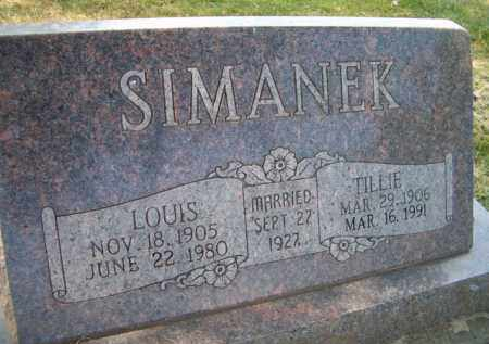 SIMANEK, TILLIE - Saunders County, Nebraska | TILLIE SIMANEK - Nebraska Gravestone Photos