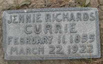 RICHARDS CURRIE, JENNIE - Scotts Bluff County, Nebraska | JENNIE RICHARDS CURRIE - Nebraska Gravestone Photos