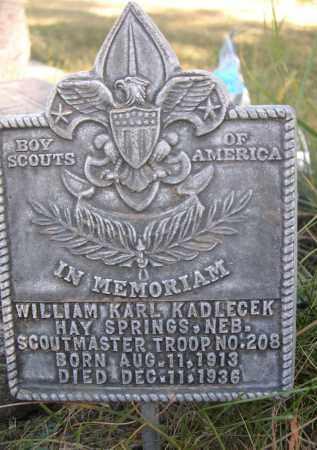 KADLECEK, WILLIAM KARL - Sheridan County, Nebraska   WILLIAM KARL KADLECEK - Nebraska Gravestone Photos