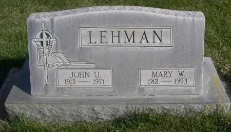 LEHMAN, JOHN U. - Sheridan County, Nebraska | JOHN U. LEHMAN - Nebraska Gravestone Photos