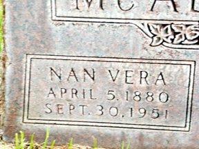 MCALLISTER, NAN VERA - Sheridan County, Nebraska   NAN VERA MCALLISTER - Nebraska Gravestone Photos