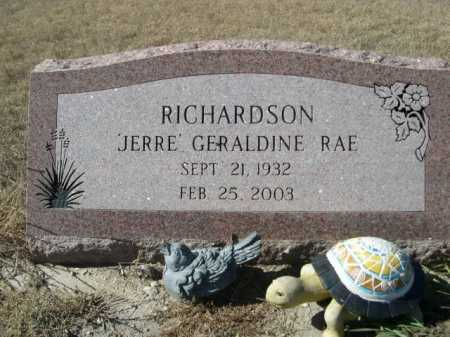 "RICHARDSON, ""JERRE"" GERALDINE RAE - Sheridan County, Nebraska | ""JERRE"" GERALDINE RAE RICHARDSON - Nebraska Gravestone Photos"