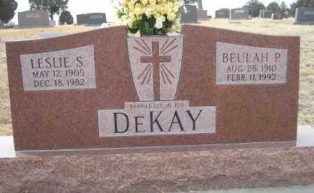 DEKAY, LESLIE S. - Sioux County, Nebraska | LESLIE S. DEKAY - Nebraska Gravestone Photos