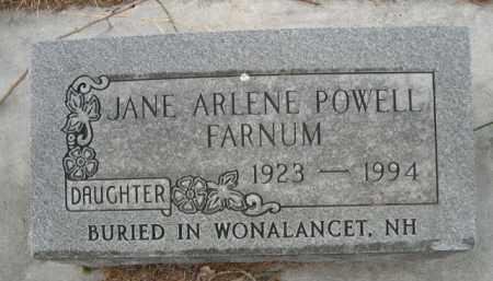 FARNUM, JANE ARLENE - Sioux County, Nebraska | JANE ARLENE FARNUM - Nebraska Gravestone Photos