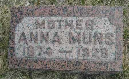 MUNS, ANNA - Sioux County, Nebraska | ANNA MUNS - Nebraska Gravestone Photos