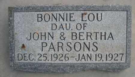 PARSONS, BONNIE LOU - Sioux County, Nebraska   BONNIE LOU PARSONS - Nebraska Gravestone Photos