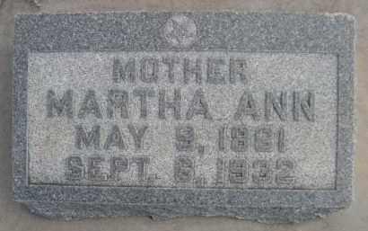 PARSONS, MARTHA ANN - Sioux County, Nebraska   MARTHA ANN PARSONS - Nebraska Gravestone Photos