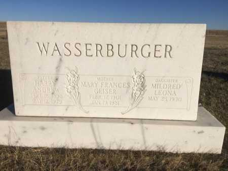 WASSERBURGER, MARY FRANCIS - Sioux County, Nebraska | MARY FRANCIS WASSERBURGER - Nebraska Gravestone Photos
