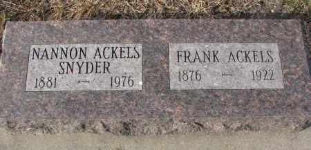 ACKELS, NANNON - Stanton County, Nebraska   NANNON ACKELS - Nebraska Gravestone Photos
