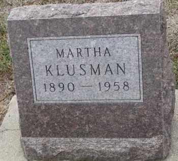 KLUSMAN, MARTHA - Stanton County, Nebraska   MARTHA KLUSMAN - Nebraska Gravestone Photos