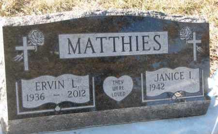 MATTHIES, JANICE I. - Stanton County, Nebraska   JANICE I. MATTHIES - Nebraska Gravestone Photos