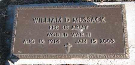 MUSSACK, WILLIAM D. (WW II) - Stanton County, Nebraska   WILLIAM D. (WW II) MUSSACK - Nebraska Gravestone Photos