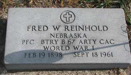 REINHOLD, FRED W. (WW I) - Stanton County, Nebraska   FRED W. (WW I) REINHOLD - Nebraska Gravestone Photos