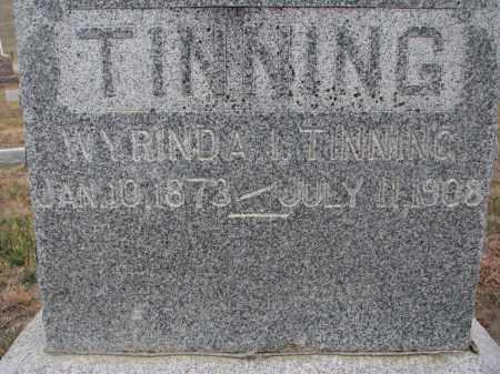 TINNING, WYRINDA I.  (CLOSEUP) - Stanton County, Nebraska | WYRINDA I.  (CLOSEUP) TINNING - Nebraska Gravestone Photos