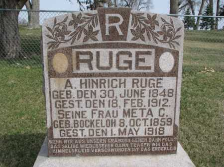 RUGE, A. HINRICH - Thurston County, Nebraska | A. HINRICH RUGE - Nebraska Gravestone Photos