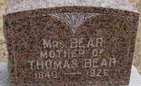 BEAR, MRS. - Thurston County, Nebraska | MRS. BEAR - Nebraska Gravestone Photos