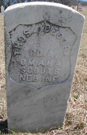 DECORA, THOS. - Thurston County, Nebraska | THOS. DECORA - Nebraska Gravestone Photos