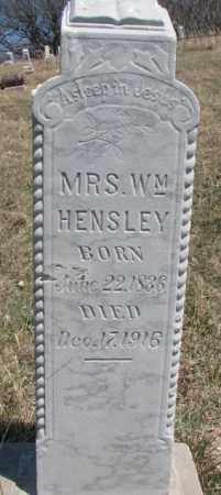 HENSLEY, MRS. WM. - Thurston County, Nebraska   MRS. WM. HENSLEY - Nebraska Gravestone Photos