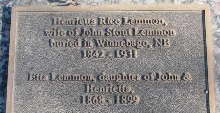 LEMMON, ETTA - Thurston County, Nebraska | ETTA LEMMON - Nebraska Gravestone Photos