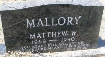 MALLORY, MATTHEW W. - Thurston County, Nebraska | MATTHEW W. MALLORY - Nebraska Gravestone Photos