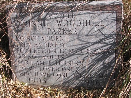 WOODHULL PARKER, MINNIE - Thurston County, Nebraska | MINNIE WOODHULL PARKER - Nebraska Gravestone Photos