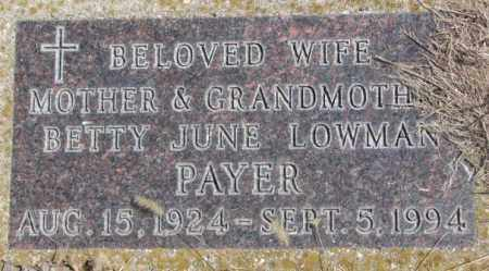 PAYER, BETTY JUNE - Thurston County, Nebraska | BETTY JUNE PAYER - Nebraska Gravestone Photos
