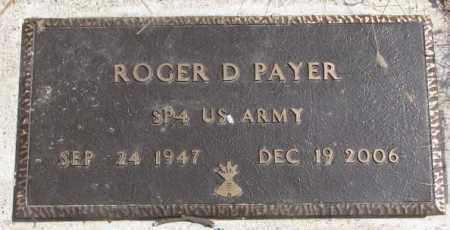 PAYER, ROGER D. - Thurston County, Nebraska | ROGER D. PAYER - Nebraska Gravestone Photos