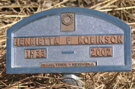 ROBINSON, HENRIETTA F. - Thurston County, Nebraska | HENRIETTA F. ROBINSON - Nebraska Gravestone Photos