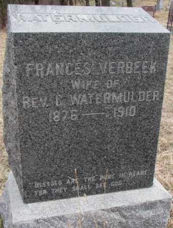 WATERMULDER, FRANCES - Thurston County, Nebraska | FRANCES WATERMULDER - Nebraska Gravestone Photos