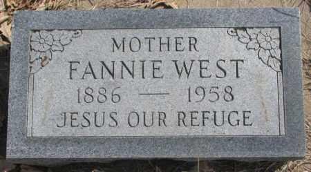 WEST, FANNIE - Thurston County, Nebraska | FANNIE WEST - Nebraska Gravestone Photos