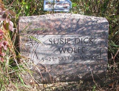 DICK WOLFE, SUSIE - Thurston County, Nebraska | SUSIE DICK WOLFE - Nebraska Gravestone Photos