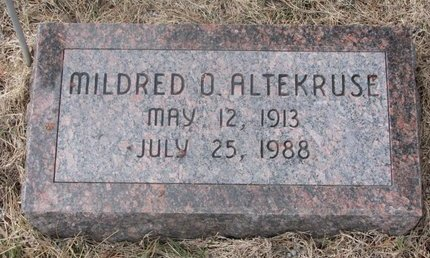 ALTEKRUSE, MILDRED O. - Washington County, Nebraska | MILDRED O. ALTEKRUSE - Nebraska Gravestone Photos